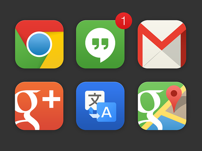 Google iOS Icons - Experiment nexus android google translate gmail hangouts chrome maps ios7 icons minimal