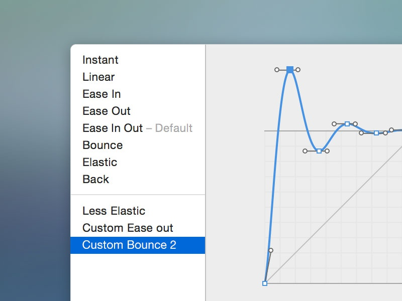 Custom Timing Function UI ui ux mac application hype pro popup bezier curve yosemite sidebar apple