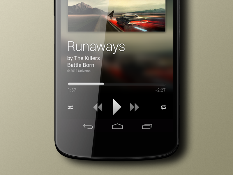 Player design music player timeline artist album repeat shuffle volume cover artwork blurry button android nexus nexus4 4 app icon