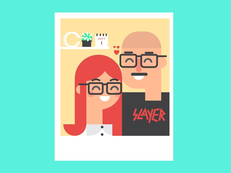 New home polaroid love boyfriend slayer flat house home character girl boy smile glasses