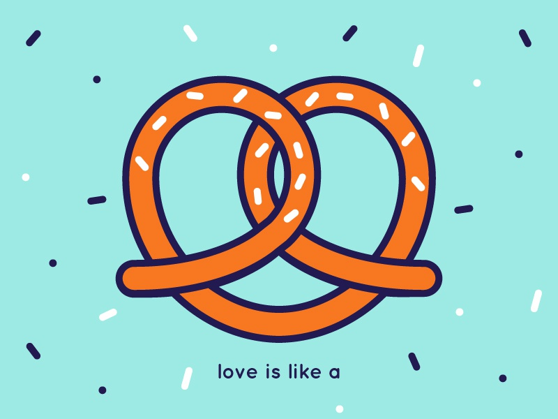 love is like a ... pretzel // with Wallpaper illo love pretzel sparkles shape stroke color happy heart sweet biscuit illustration