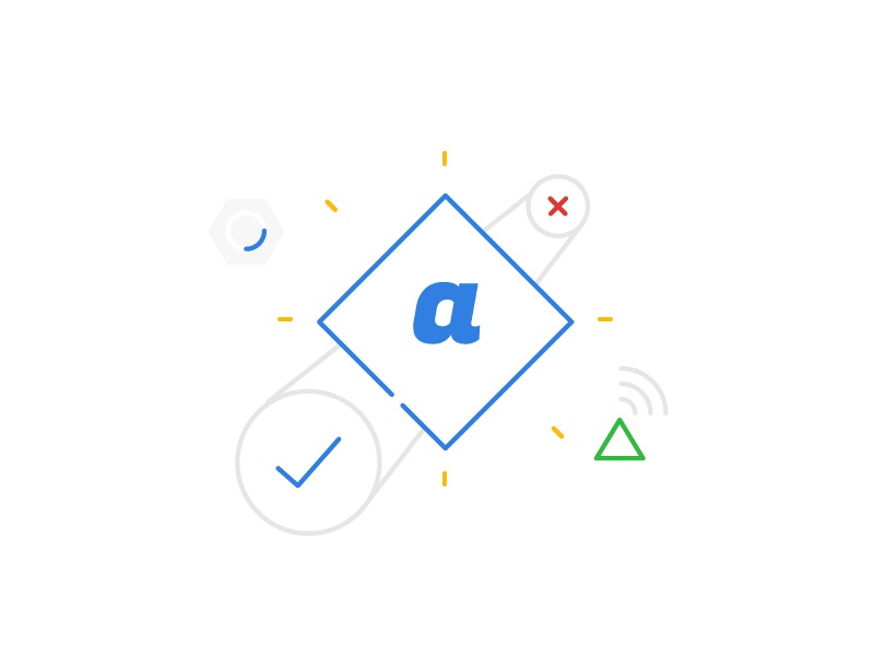 ABC alphabet gear loading illustrator outline shape check