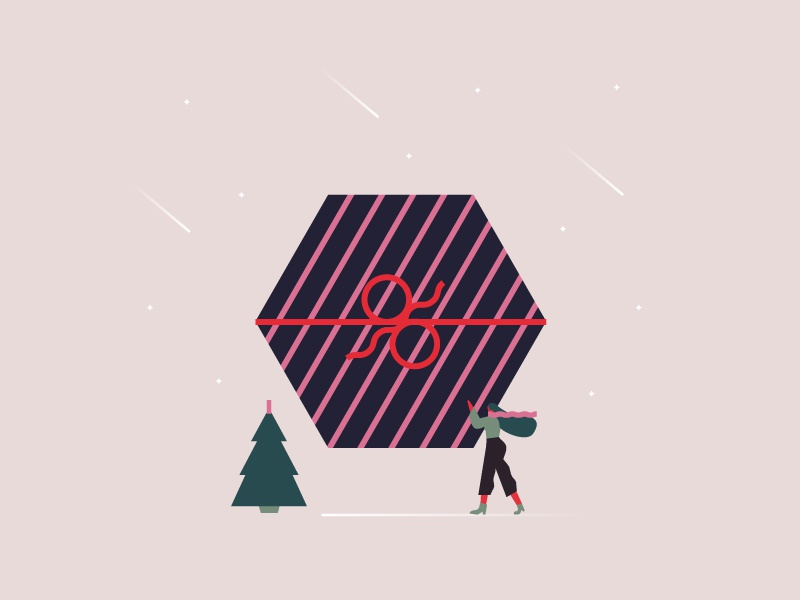 Xmas gift  wrap illo palette present winter snow tree woman character gift christmas xmas