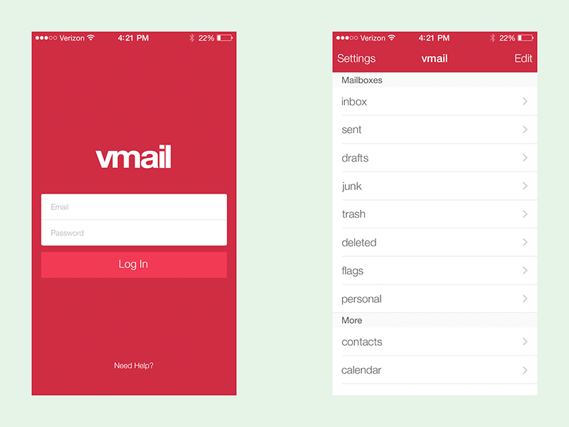 Maill App Redesign mail vmail app design redesign ios7