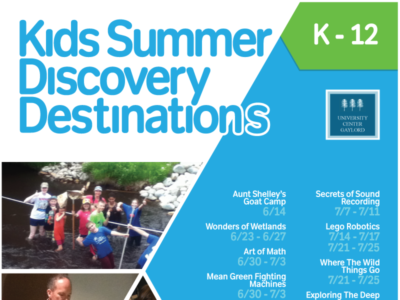 Kids Summer Discovery Destinations typography event flyer kids camp poster flyer