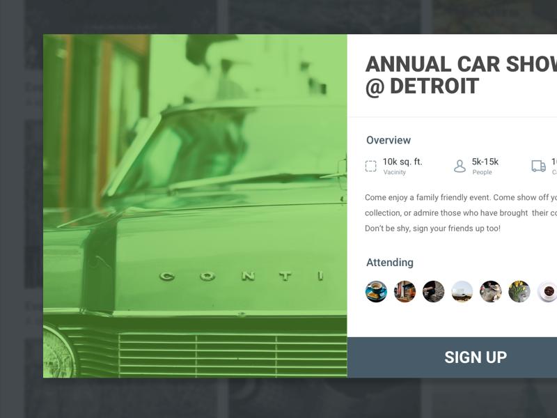 Pop-up Event Modal design detroit car show card ui popup events modal