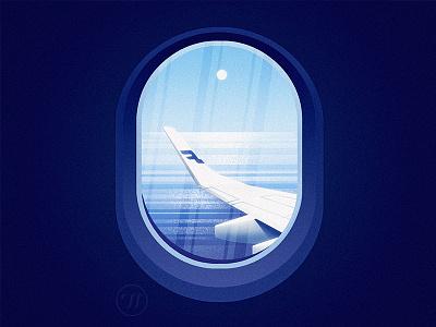 Finnweh flatillustration airplane flight flight view landscape illustration illustration finland graphic art