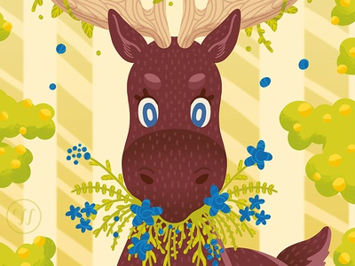Eat your Greens animal illustration moose nature illustration sweden illustration graphic art