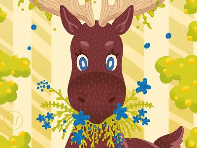 Eat your Greens animal illustration moose nature illustration sweden illustration graphic art