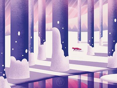 Foxy Christmas 2020 snow winter fox illustration flat illustration landscape illustration graphic art illustration