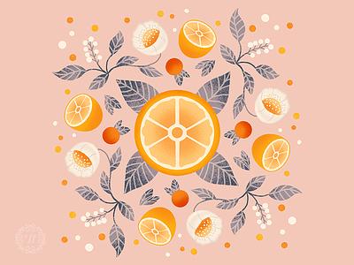 Floral Oranges symmetry floral orange oranges pattern design pattern art graphic art illustration