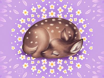 Sleepy Spring spring deer animal illustration flat illustration graphic artist illustration graphic art
