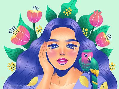 Tropical parrot tropical drawthisinyourstyle dtiys portrait flat illustration illustration graphic art