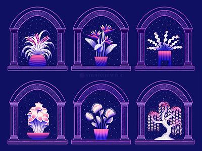 plants at night floral art plants plant illustration floral illustration graphic art illustration
