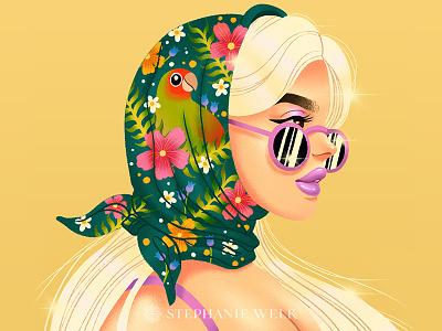 Smol Paradise headscarf flowers floral bird animal female portrait portrait flat illustration graphic artist illustration graphic art
