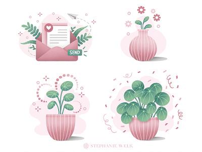 Website Illustrations floral flat illustration contact website illustration plants illustration graphic art