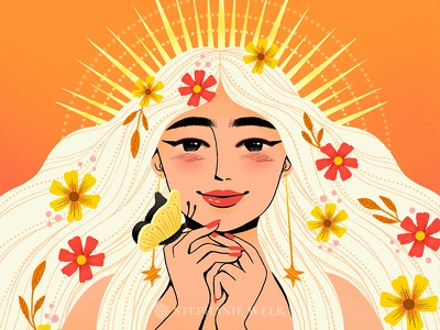 Bold and Striking floral graphic artist illustration graphic art