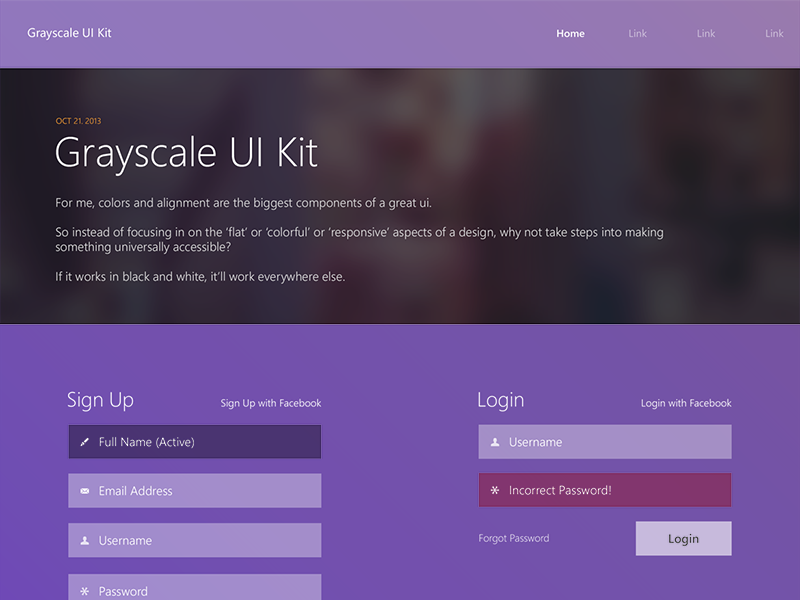 Grayscale Ui Kit (Free PSD) free flat ui kit ui kit grayscale colors color interface pack psd