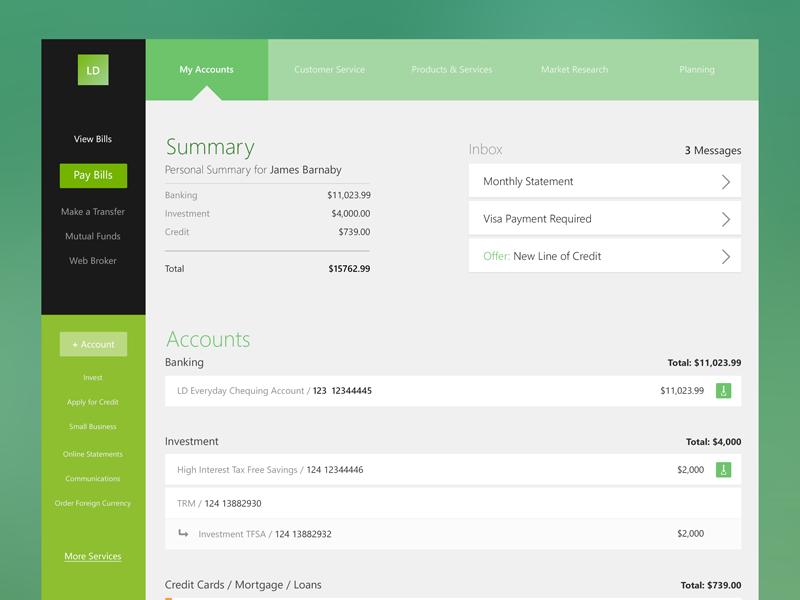 Flat Bank UI - FREE PSD bank ui kit free flat green banks quick interface ui kit psd