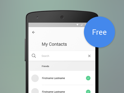 [Free PSD] Material Design - Contact List with Search material design android l android material design free psd ui