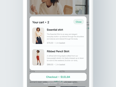 Cart Bottom Sheet checkout ux ui carbon shopping quick access navigation iphone x minimalist design bottom navigation minimal bottom sheet cart