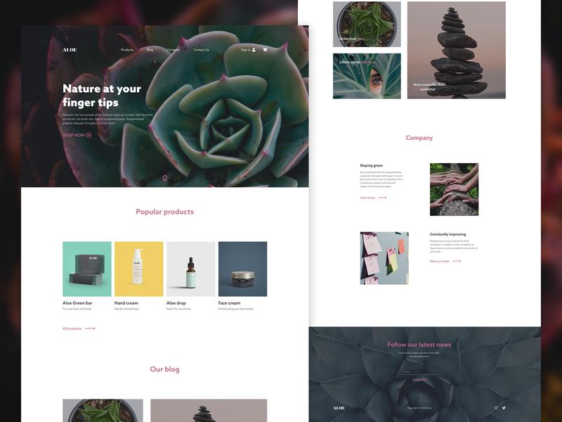 Aloe - beauty shop debut landing page minimal debuts beauty aloe web ui landing page design