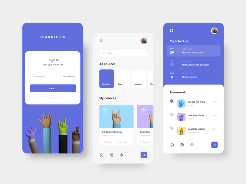 Learnifier — online education app card learning app toolbar menu sign up sign in planner schedule purple 3d university school course lesson education app