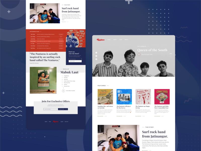 Panturas Landing Page design development typography lifestyle ux ui website beach music band landing page