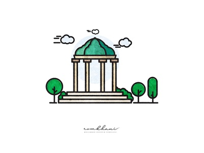 Tomb of Hafez artwork graphicdesign lineart minimal style simple hafez shiraz iran flat icon vector illustration art graphic abstract illustrator