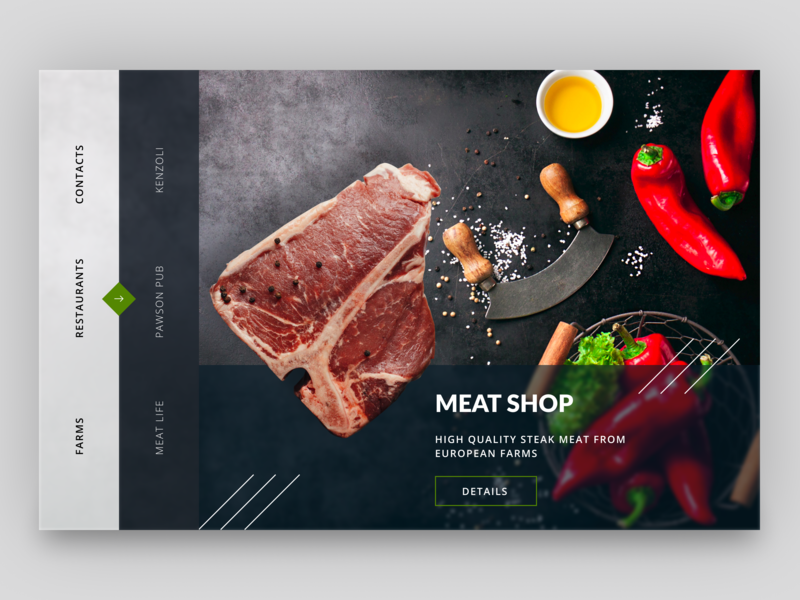 Meat store concept for local farmers flat simple website ui ux uiux food restaurant country store farm meat