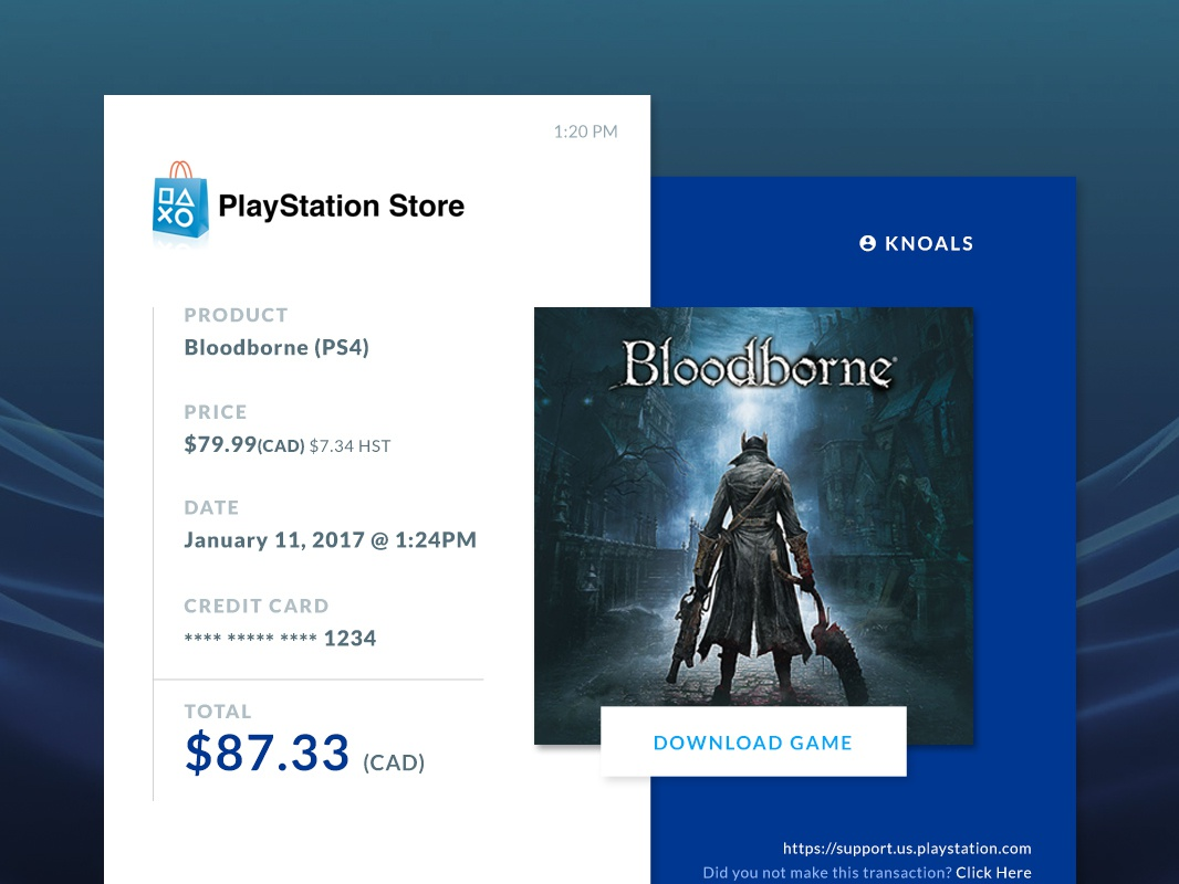 Playstation Store Order Receipt by Kalon Simpson on Dribbble