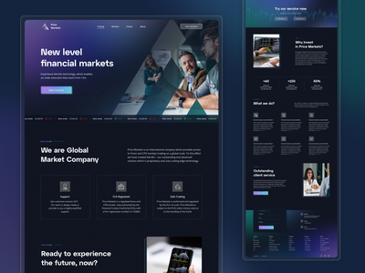 Price Markets   Financial Market ui ux design company broker forex market homepage darkmode trader ux ui uidesign simple cryptocurrency crypto investment trade trading webdesign landing page design