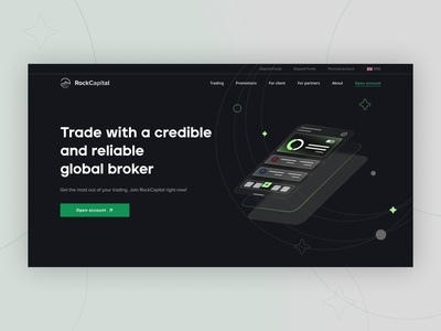 RockCapital | Trading Platform crypto cryptocurrency market investment partners client about homepage company webdesign website trading platform global broker forex trade landing ux ui