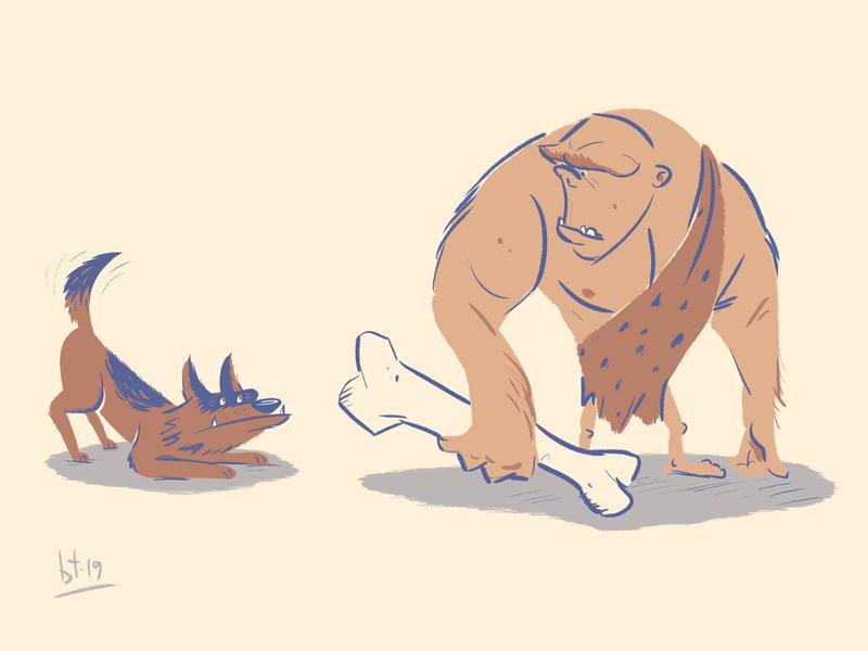 Prehistoric Man's Best Friend character design illustration