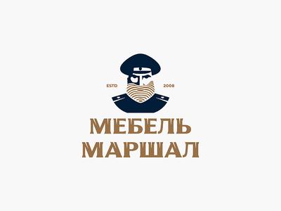 Mebel' Marshal identity branding logo wood texture wood beard face men man face shop tree production furniture salon marshal furniture