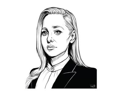 Angela mr. robot ink illustration black and white illustration