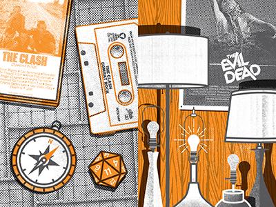 Stranger Things Zine Illustrations evil dead wood panel compass lamp dungeons  dragons cassette zine stranger things