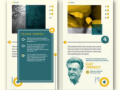 SFF HOF Quiz Interactive Sample Screens ui design museum exhibit interactive exhibit kurt vonnegut science fiction