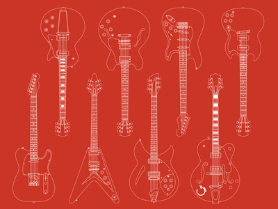 Guitar Illustrations illustration gibson fender guitar