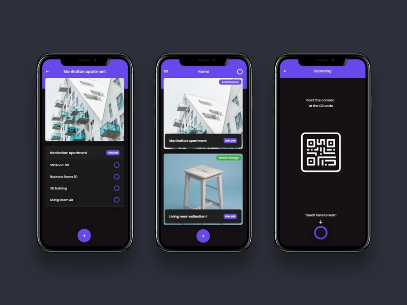 Qubment - Augmented Reality App art direction black dark colorfull concept ux design ux ui design minimal android ios application uxdesign uidesign uiux ui app augmentedreality