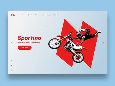 Sportino new sport website concept red colorfull typography sport sports sports branding sports design branding illustration web design ux design ui design minimal web design ux website ui