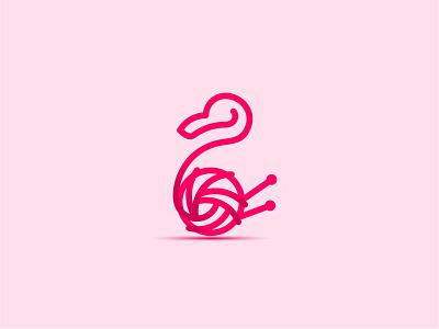 Flamingo - logo illustration minimal icon vector yarn branding bird flamingo logo