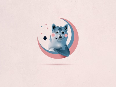 Woof-woof art space pink design illustration character icon vector stars moon dog akita