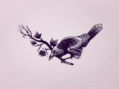 Raven character illustration design art icon vector bird raven