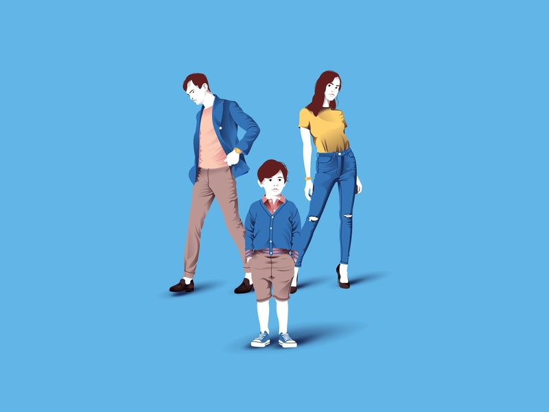 Illustration for a clothing store blue clothes man woman child peoples design art icon character vector illustration