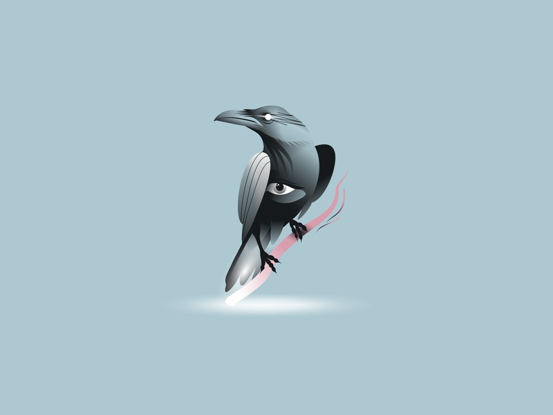 Raven illustration raven light bird character illustration design art icon vector eye