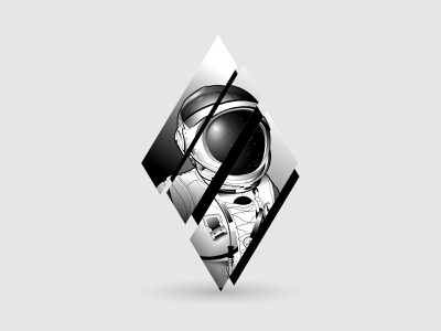 Sliced Astronaut character illustration art icon vector monochrome slice stars cosmonaut cosmos space astronaut