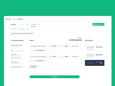Split Transactions | Accounting accounting user interface dashboard ui real estate b2c fintech finance product design