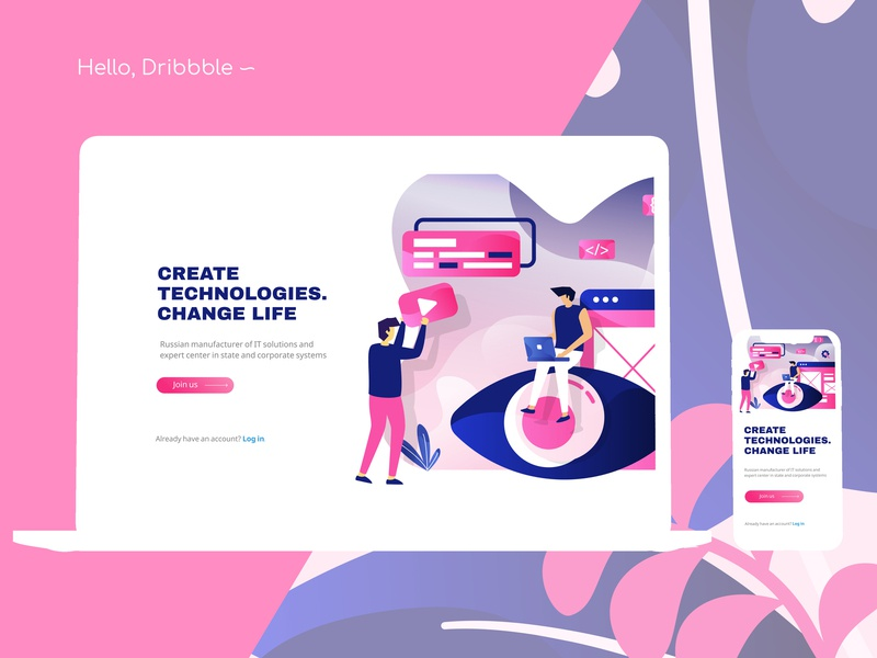 Hello, Dribbble! pro100challenge dailyui 001 illustration minimal website web app ux vector ui design