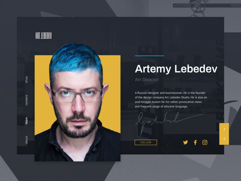 Profile Page artemy lebedev profile page black blue typography yellow website web ux ui pro100challenge minimal design